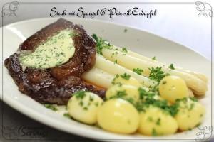 Steak mit Spargel und Petersil-Erdäpfel