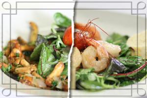 Frischer Salat mit Riesengarnelen oder Pfifferlingen